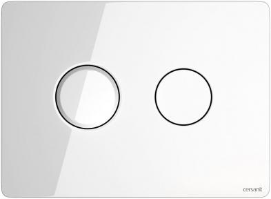 Кнопка змиву пневматична Accento Circle біле скло