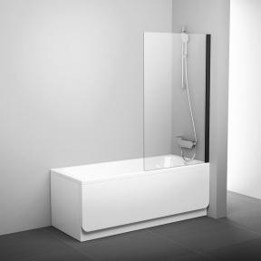 Штора для ванн нерухома одноелементна Ravak PVS1-80 чорний+Transparent 79840300Z1