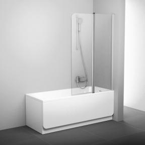 Штора для ванн рухома двоелементна Ravak CVS2-100 R білий+Transparent 7QRA0100Z1