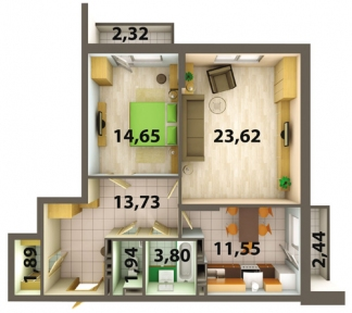 Проект опалення 2-кімнатної квартири
