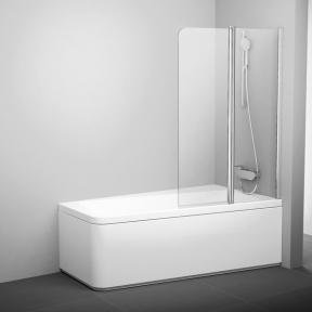 Штора для ванн двоелементна 10° Ravak 10CVS2-100 R білий+Transparent 7QRA0103Z1
