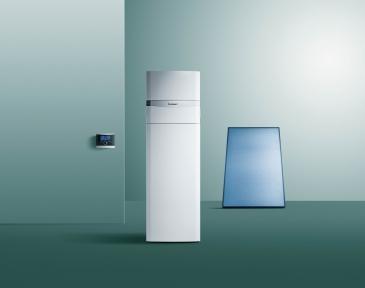 Котел Vaillant газовий конденсаційний підлоговий з вбудованим водонагрівачем 190 л та сонячною станцією типа «drain back» auroCOMPACT VSC D 306/4-5 190